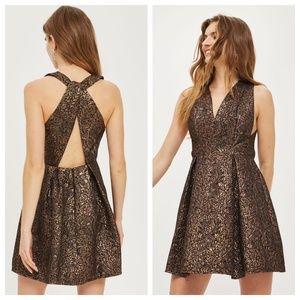 Topshop Jacquard Metallic Party Dress (NWT)